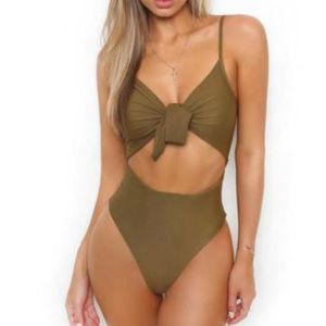 Other - Monokini one piece swim suit high waist tie front
